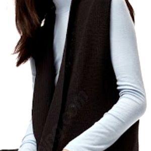 Wilfred medium black open front w pockets cardigan
